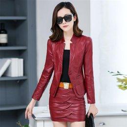 2ee8dd2b69682 Printemps nouvelle section coréenne court paragraphe veste en cuir Slim  veste en cuir PU veste femme Jupe TB141