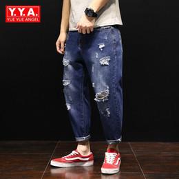 a6479504f3f Summer Mens Hole Ripped Jeans Streetwear Ankle-Length Pants Men Loose Fit  Plus Size Harem Pants Casual Blue Denim Male