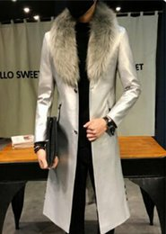boutique men coat Canada - Men autumn winter leisure fashion new boutique xieshen personality trend of business with a long fur coat with fur collar  M-3XL