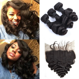 Discount peruvian loose wave hair - 3pcs Virgin Mongolian Loose Wave Hair Bundles With Lace Frontal Closure 13*6 Bleached Knots Shedding Free