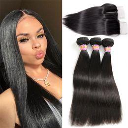 $enCountryForm.capitalKeyWord NZ - Brazilian Virgin Hair With Closure Straight Human Hair 3 Bundles With Closure 4*4 Natural Color Free Middle 3 Part SASSY GIRL