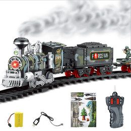 Red Cars Toys NZ - New RC Train Children's Traffic Toys Remote Control Conveyance Car Electric Steam Smoke RC Train Slot Set Model Toy For Kid Gift
