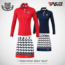 $enCountryForm.capitalKeyWord Canada - 2018 PGM Golf Clothes Female Summer Soft Slim High Elastic Sport Suit Long-sleeved Blouse Short Plaid Skirt For Women Size XS-XL