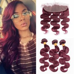 Burgundy Wavy Hair Australia - 8A Indian Burgundy Lace Frontal with Bundles Color 99J Red Wine Body Wave Wavy Indian Human Hair Weave Bundles with Frontal Lace Closure