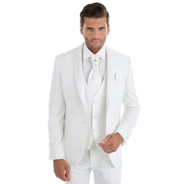 tuxedo suits for men slim UK - Men Suits 2018 White Shawl Lapel Wedding Suits For Man Simple Bridegroom Custom Made Slim Fit Formal Tuxedos Best Man Blazer Prom 3Pieces