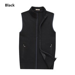 Discount cashmere vests Fashion Zipper Solid Wool Vest Outerwear Cost Sleeveless Sweater Coat for Men Great Quality Soft Comfortable Durable Gre