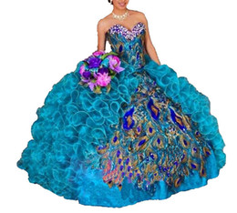Discount peacock ball - 2019 New Peacock Embroidery Ball Gown Quinceanera Dresses Crystals For 15 Years Sweet 16 Plus Size Pageant Prom Party Go