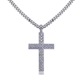gold iced out NZ - Hip Hop 18K Gold Plated Iced Out Cubic Zirconia Cross Pendant Necklace with 4mm 60cm Cuba Chain Necklace Men Women diamonds Jewelry