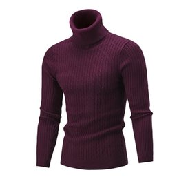 Chinese  2018 men's sweater autumn and winter high collar solid color twist bottoming shirt tide men's pullover casual sweater M-XXL manufacturers