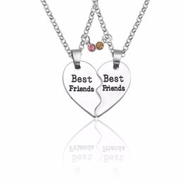 BFF Trendy Best Friends Forever Necklace Jewelry For Women Broken Heart  Best Friend Pendant Rhinestone Xmas Necklaces Pendants c7becb493142