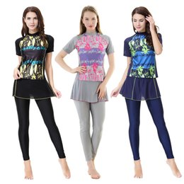 0b715dcccd08f Women Two-piece Muslim Swimwear Short Sleeve Full Coverage Islamic Swimsuits  Patchwork Beachwear Modest Bathing Suit Lady