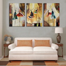 Decorative Hand Paintings Australia - 3 Piece Hand Painted Abstract Ballet Dancer Oil Painting on Canvas Modern Home Decor Abstract Decorative Wall Pictures Painting Art