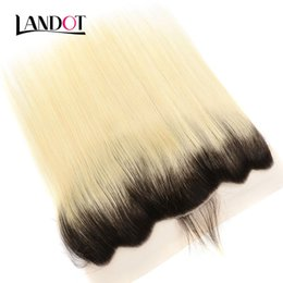 ombre lace frontal closure NZ - Ombre 1B 613 Bleach Blonde Brazilian Virgin Hair Lace Frontal Closures 13x4 Size Peruvian Malaysian Indian Cambodian Human Hair Top Closure