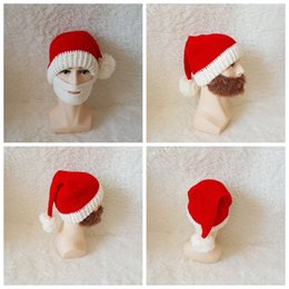 e6b4b44f4 Christmas Beard Hats Knitted Beard Mask Cap Winter Santa Clause Cosplay Hat  Warm Ear protective Skiing Headgear kids caps GGA1045