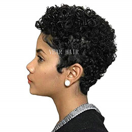 short afro brazilian lace wig UK - Human hair pixie cut None lace wigs Afro kinky Curly Glueless Cap 1B# 2# Indian Remy Human Hair Machine Made Wig For Black Women In Stock