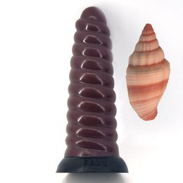 Silicone Man Dildo NZ - LZYAA Imitate conch shape huge silicone dildo health soft insert anal plug sex toys for man spiral strong suction cup erotic shop