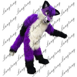 free hair mascot 2019 - 2018 New high quality Long hair Purple Wolf Mascot costumes for adults circus christmas Halloween Outfit Fancy Dress Sui
