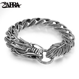 Bangle Silver Dragon Australia - Mens Biker Sterling 925 Silver Dragon Curb Chain Bracelet Thai Vintage Style Dragon Link Handcrafted Punk Men Bracelet Bangle