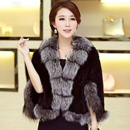 $enCountryForm.capitalKeyWord UK - 2018 Fashionable 100% Real Genuine Women Knitted MINK Fur Shawl with Natural Fox Fur Collar WRAP CAPE Poncho Stole Cape spring
