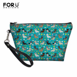 dog black animals cases Canada - wholesale Cosmetic Bag Dachshund Dog PU Leather Women Zipper Makeup Bags Daily Use Small Make Up Bag Lady Cosmetics Case