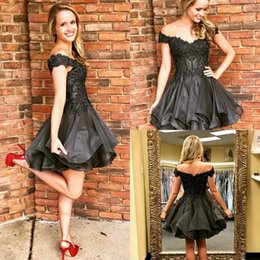 Tier Ruffles Skirt Little Black Short Homecoming Dress 2019 Off Shoulder  Beadings Cocktail Prom Gowns Online Sale ce5878a81