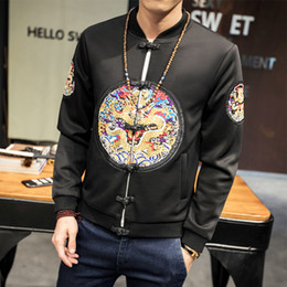 Discount chinese embroidered jackets - High Quality Men Jackets Casual Several Colors Chinese Style Loose Embroidered Button Jacket Men Autumn Casacas Para Hom