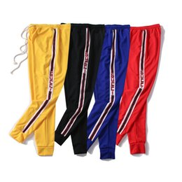 Mens waist online shopping - Fashion Mens Pants Designer Jogger Track Pants Top Quality Brand Jogger Clothing Side Stripe Drawstring Pant Men Brand Sport Sweat Pants