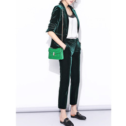 Shining Suits NZ - Velvet Pant Suits Women pant suits Spring New High Street Shine Velvet Pant Suits Navy Blue and Dark Green