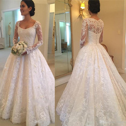 $enCountryForm.capitalKeyWord Australia - 2018 Newest Long Sleeves Wedding Dresses Square Neck Full Lace Applique A Line Bridal Gown Sweep Train Covered Button Wedding Dress