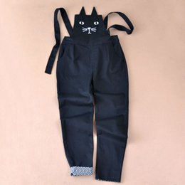 Harem Jumpsuits Women Australia - 2017 Spring Cotton Black Cat Face Embroidery Women Rompers Fashion Slim Solid Harem overalls Jumpsuit For Women Rompers Womens