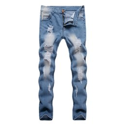$enCountryForm.capitalKeyWord UK - 018 Hot New Hot Sale Men Design Ripped Blue Denim Trousers Hole Destroyed Style Slim Biker Jeans Male Personality Pants