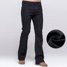 Fly Cut NZ - Wholesale-Winter Jeans Male Boot Cut Style Thicken Fleece Jeans Black Stretch Denim Slim Pants