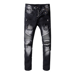 China Balmain New mens Jeans Fashion Designer jeans Distressed Skinny Slim Motorcycle Men's Biker jeans Moto hole beggar Hip Hop men Denim Pants supplier jeans size freeshipping suppliers