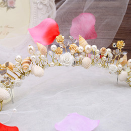 Discount starfish wedding hair The bride jewelry European starfish pearl hairbands conch shells marriage yarn studio crown headdress wedding hair accessories