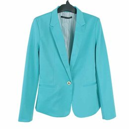 456450f6b0e New Street Fasion Women Candy Color Blazer Jackets Coat Slim Fit Casaco  Blazer Casual Coats Single Button Lapel OL Blazers YF172