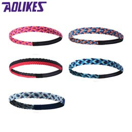Wholesale 1PCS Weave Sweatbands Elastic Yoga Headband Men Women Sports Gym Sweat Bands Silicone Anti slip Hair Band Multicolor