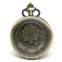 Discount mens black pendant - Vintage Emboss Flower Fate Extra Last Encore TV animation Quartz Pocket Watch Analog Pendant Necklace Chain Mens Womens