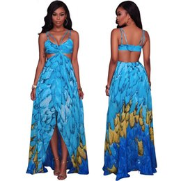 print chiffon floor length dress UK - Summer European and American women's sexy suspense Beach Dress Chiffon print dress K0479