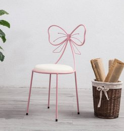 Dress Up Rooms Australia - Home Decor Makeup Chair Iron Dressing Chair with Bowknot Back in 3 Colors for Making Up or Living Room Free Shipping