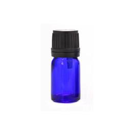 Mini Plastic Cosmetic Bottles UK - 5ml cobalt blue glass bottle, mini glass essential oil bottle with plastic lids, cosmetic packaging wen6968
