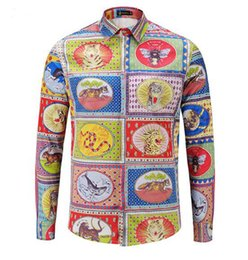 China Men's European American Korean fashion casual new trend of personality fitness show animal print young long-sleeve shirts  M-2xl cheap down shows suppliers