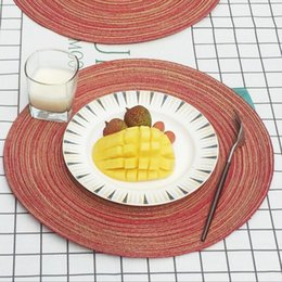 Kitchen Place Mats Australia - Hand made weave Round Circle Placemats Table Place Mats Kitchen Dinner Table Heat Pads breathable heat resistance 35cm
