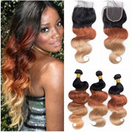1b 33 human hair 2019 - Body Wave #1B 33 27 Honey Blonde Ombre Virgin Hair Weaves with 4x4 Lace Closure Three Tone Colored Brazilian Human Hair