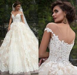 Chinese  Vintage Turkey Lace Ball Gown Wedding Dress 2018 Off Shoulder Princess Lebanon Illusion Jewel Neck Arab Bride Bridal Dress Gown manufacturers