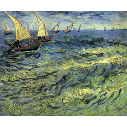 landscape fine art painting UK - Fine art painting by Vincent Van Gogh Fishing Boats at Sea impressionist canvas artwork for room decor
