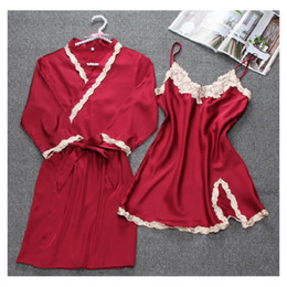 2 Pieces Nighty Robe Set Lace Sleepwear Sexy Kimono Bathrobe Gown Satin  Nightwear Intimate Lingerie Neglige Lace Pajama Female 0254334bb