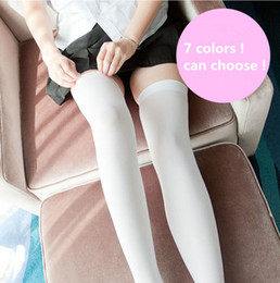 japanese thigh high socks 2019 - Anime Cosplay Costume Stockings Thigh high Japanese Student Skidproof Socks Velvet White Silk 7 colors cheap japanese th