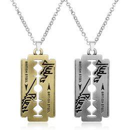 Razor Necklace NZ - MQCHUN Music Band Judas Priest Necklace Razor Blade Shape Pendant Fashion Necklaces for Women Men Friendship Gift-30
