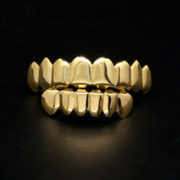 Wholesale Mens Gold Grillz Teeth Grillz Set 2018 New Fashion Hip Hop Jewelry High Quality Eight 8 Top Tooth & Six 6 Bottom Teeth Grills