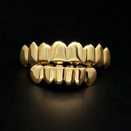 venda por atacado Mens Grillz Grillz Dentes de Ouro Conjunto 2018 Nova Moda Hip Hop Jóias de Alta Qualidade Oito 8 Top Tooth Six 6 Grades Dentes Inferiores